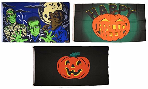 ALBATROS 3 ft x 5 ft Happy Halloween 3 Pack Flag Set #35 Combo Banner Grommets for Home and Parades, Official Party, All Weather Indoors Outdoors