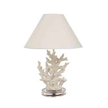 Glitzhome 19.29''H Coral Novelty Table Lamp-Farmhouse Marine Design with White T/C Shade Neutral Lampshade & Soft,Ambient Lighting Perfect for Living Room,Office