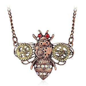 TwJim Steampunk Pendant Necklace Bee Butterfly Owl Animal Shape Unique Jewelry