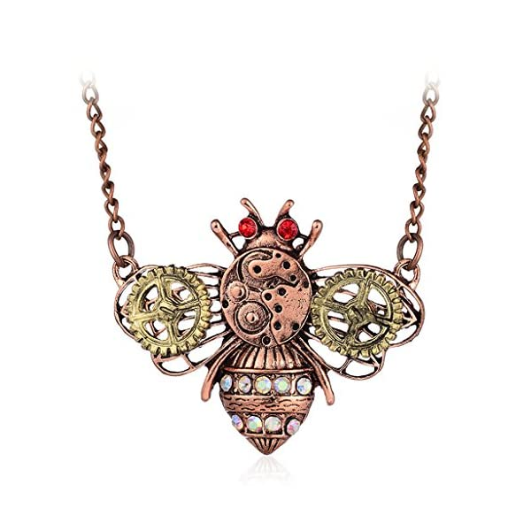 TwJim Steampunk Pendant Necklace Bee Butterfly Owl Animal Shape Unique Jewelry 3