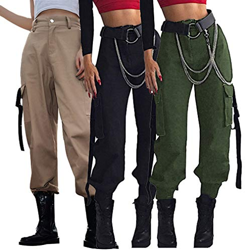 Loose Stile Cargo Con Verde Lunghi Militare Moda Khaki Pantaloni Fit Tasche Da Multiple Combattimento Casual nero Donna verde wvCnqI