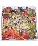 R&M International 1931 Thanksgiving Harvest Cookie Cutters, 2 Turkeys, 2 Pumpkins, 2 Apples, Acorn, Aspen Leaf, 8-Piece Set