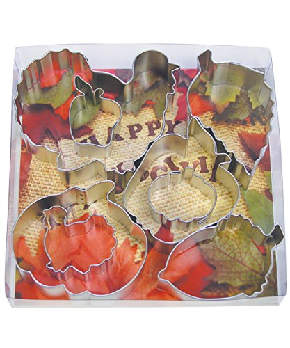 R&M International 1931 Thanksgiving Harvest Cookie Cutters, 2 Turkeys, 2 Pumpkins, 2 Apples, Acorn, Aspen Leaf, 8-Piece Set -