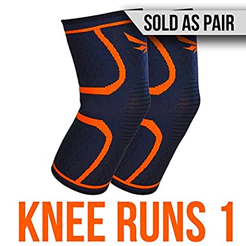 2nd Era Knee Runs 1 - Best Compression Knee Support Sleeves Brace Wraps - For Professional Elite Athletes: Running, Jogging, Bodybuilding, and Weight Lifting - Sold as Pair (Orange, Small)