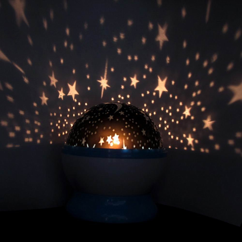 Amazon.com: Starry Sky Ceiling Moon Star 360°Rotation Night Light Projector  Lamp (Blue): Baby