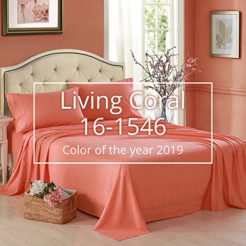 HONEYMOON HOME FASHIONS Bedding Full Sheet Set Triple Row Embroidery 4 Pieces Living Coral