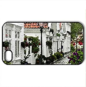 Flowers Street - Case Cover for iPhone 4 and 4s (Houses Series, Watercolor style, Black)