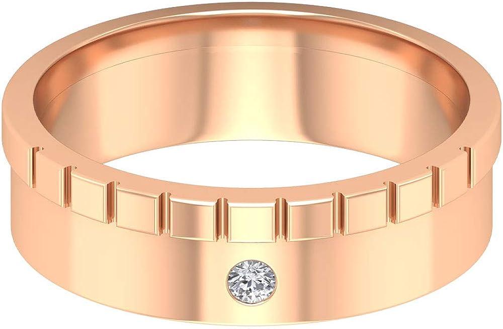 Anillo de compromiso con diamante certificado SGL, único anillo de boda de banda ancha para novio, antiguo solitario, anillo de declaración de diamante, clásico para hombre, 14K Oro