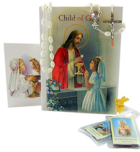 Westman Works First Holy Communion Set for Girls Prayer Missal in a Plastic Cover with Rosary Holy Card and Scapular ()