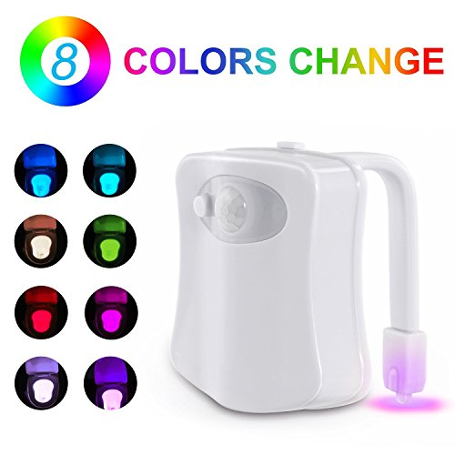Homily Toilet LED Night Light Motion Bathroom Activated Sensor Toilet Nightlight Body Motion Activated On/Off Seat Sensor Lamp 8 Color, led motion sensor night light 8 color changing for toilet - Dragons Den Sunglasses Wooden