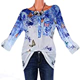 vermers Clearance Women Plus Size T Shirts - Womens Fashion Floral Print Button Long Sleeve Blouse Pullover Tops(3XL, Blue)