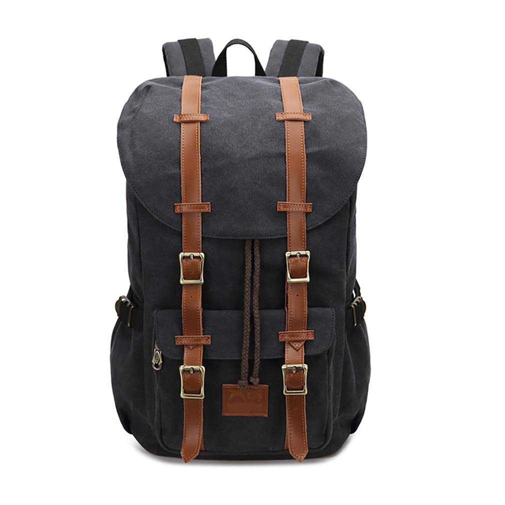 Canvas Travel Backpack, AUGUR Vintage Canvas Backpack Travel Hiking Camping Rucksack Pack for Women & Men Fits 12-17 Inch Laptop and Notebook (Black)