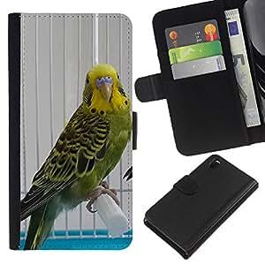 All Phone Most Case / Oferta Especial Cáscara Funda de cuero Monedero Cubierta de proteccion Caso / Wallet Case for Sony Xperia Z3 D6603 // Parrot Green Yellow Cage Sad Bird Beak
