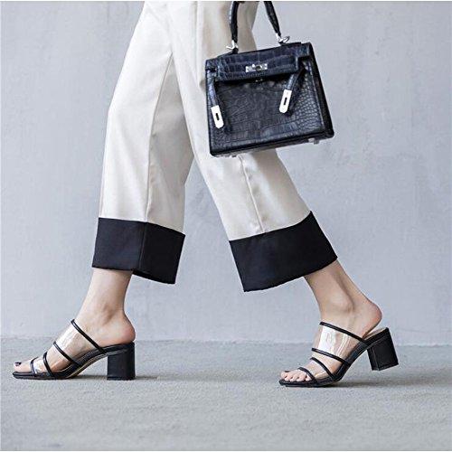 Shoe Tacco Sandali Pantofole Punta Aperta Testa Dimensioni Colore 38 store Quadrata Nero 7cm e Spesso Sandali arxP0aq