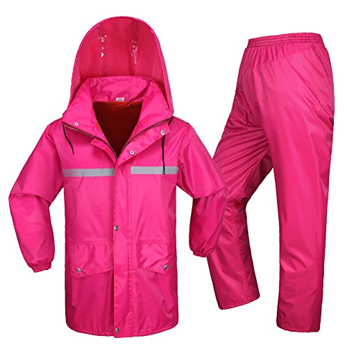Outdoor Peak rain Poncho Jacket Pants Motorcycle Raincoat Set Fishing Cycling Rainsuit for Men Women (150cm - 155cm 40kg - 50kg, rosa)