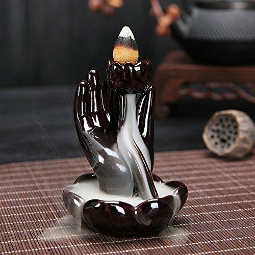 Hand Incense Burner -  Ceramic Incense Holder Incense Burner Backflow Censer Smoke Flow Incense Burner Waterfall (Buddha Hand)
