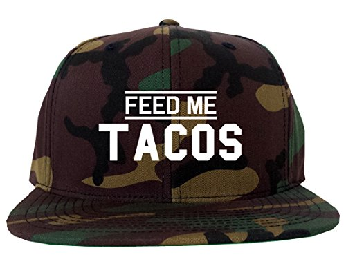 Feed Me Tacos Mens Snapback Hat Cap Army Camouflage - Me Feed Snapback