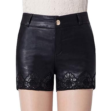 90e16ea58c DISSA F8867 Shorts Pantalons Court Taille Haute Mince Cuir PU Femme:  Amazon.fr: Vêtements et accessoires