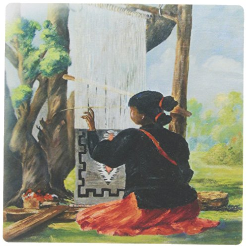 3dRose 8 x 8 x 0.25 Inches Vintage Painting of Navajo Indian Maiden Mouse Pad ()