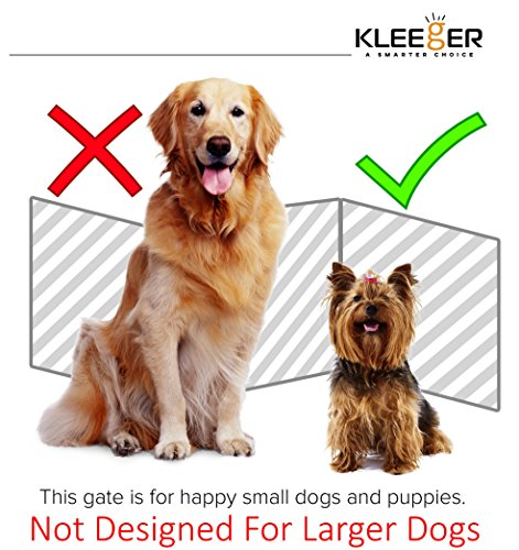 Kleeger-Freestanding-Folding-Dog-Gate-For-Small-Pets-Paw-Print-Decorative-DesignNo-Tools-Required