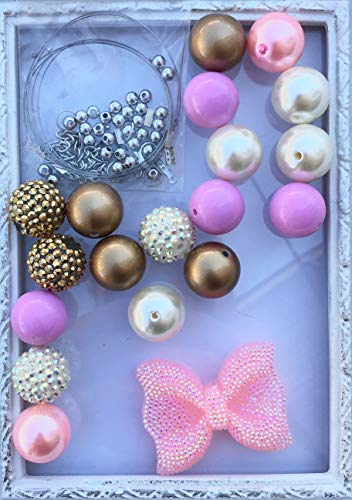 20mm Pink, Gold, Ivory Rhinestone Bow DIY Necklace Kit with Hardware Chunky Bubble Gum Acrylic Bead Pack Necklace Kit