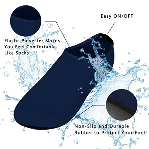 VIFUUR Wassersport Schuhe Barfuß Quick-Dry Aqua Yoga Socken Slip-On für Männer Frauen Kinder Navysoft