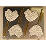 Scrolled Heart Lollipop With Butterflies V253 Valentine's Day chocolate candy mold