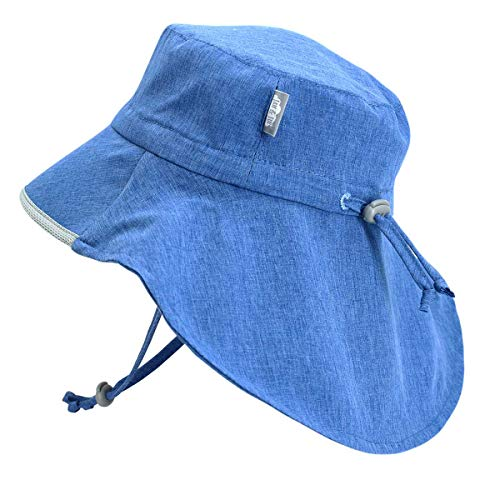 (Boys Summer Pool Outdoor Sun-Hats 50+ UPF Adjustable Foldable (L: 2Y - 5Y, Blue))