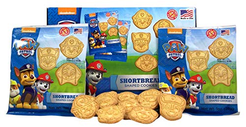 Paw Patrol Shaped Shortbread Valentines Day Cookies Snack Packs, 1 oz Bags, Box of 12
