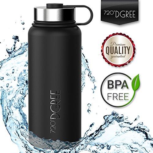 Edelstahl-Trinkflasche von 720°DGREE - 950ml +Gratis Sportdeckel | Premium Isolier-Flasche mit 100%-Zufriedenheitsgarantie | Perfekte Thermosflasche für Kinder, Schule, Sport, Fitness, Yoga, Wandern, Outdoor, Reisen, Büro, Uni, Auto oder Unterwegs | Frei von BPA, BPS, Phthalate | Die Gesunde Art zu Trinken | Ideal als Wasser- & Sportflasche