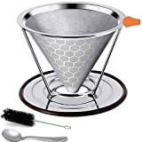 Pour Over Coffee Dripper, Stainless Steel Coffee filter for Chemex, Hario V60, Paperless & Reusable, Cone Coffee Filter with Separate Stand for 1-4 Cups ,Spoon Brush Included