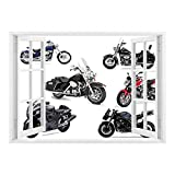 SCOCICI Removable Wall Sticker/Wall Mural/Motorcycle,Unique Original Motorcycles Set Freestyle Action Life with Winged Wheels Hobby Print,Multi/Wall Sticker Mural