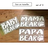 Set of 3 Iron on ,1- PAPA BEAR , 1 - MAMA BEAR,1- BABY BEAR iron on, Matching iron on for T shirt,baby romper (#ss)