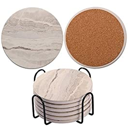 Coasters for Drinks/Absorbent Marble Ceramic Coasters/Housewarming Gift for Home Decor – Set of 6