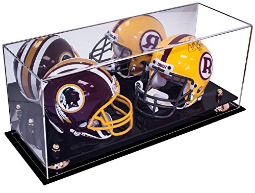 Deluxe Acrylic Double Mini Football Helmet Mini Goalie Mask Display Case with Gold Risers and Mirror (A019-GR) - Double Football Display Case