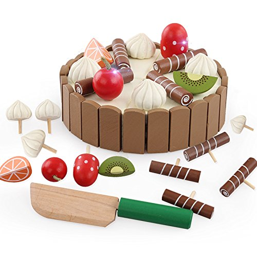Lanlan Creative Simulate Wooded Magnetic Slicing Toy Kid's Mini Cake Play-House Toy Invisible Splice Halloween Christmas Birthday Gift Prize by Lanlan