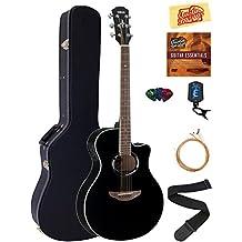 Yamaha APX500 Black Acoustic-Electric Guitar Bundle with Yamaha Hard Case, DVD, Picks, Strap, Strings, Pick Card, and Polishing Cloth