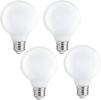 FLSNT G80 Globe Led Light Bulbs E27 Base 4000K Cool White,Non-Dimmabe,4W Retro Decorative for Vanity Mirror,Bedroom,4 Pack