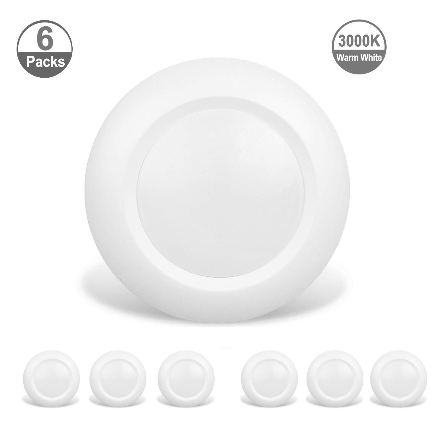 JULLISON 6 Packs 4 Inch LED Low Profile Recessed & Surface Mount Disk Light, Round, 10W, 600 Lumens, 3000K Warm White, CRI80, DOB Design, Dimmable, Energy Star, ETL Listed, White ... by JULLISON (Image #1)
