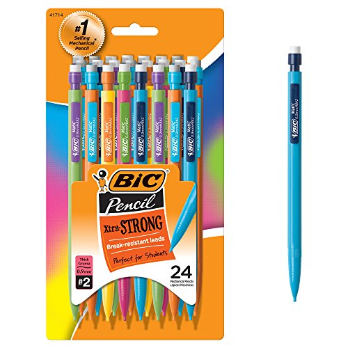 BIC Xtra-Strong Mechanical Pencil, Colorful Barrel, Thick Point (0.9mm), 24-Count (MPLWP241)]()