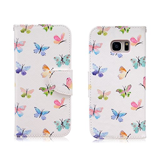 Samsung Galaxy S7 Edge Case,JinLi Printed Pattern Filio Wallet Cellphone Book Protective Cover Designed with Credit Card Slot and Money Holder and Kickstand for Hands Free video (butterflys)