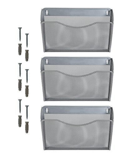 (Superbpag 3 Pocket Hanging Wall File Holder Organizer Magazine Rack, Silver)