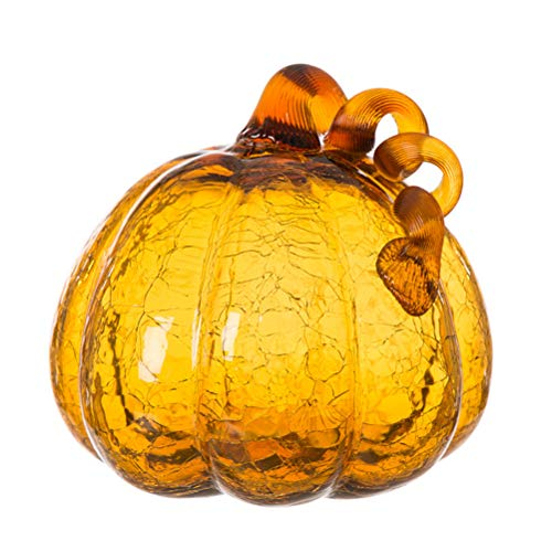 Glitzhome 6.69 Inch Amber Hand Blown Ornaments Crackle Glass Pumpkin for Fall Thanksgiving Halloween and Home Decor