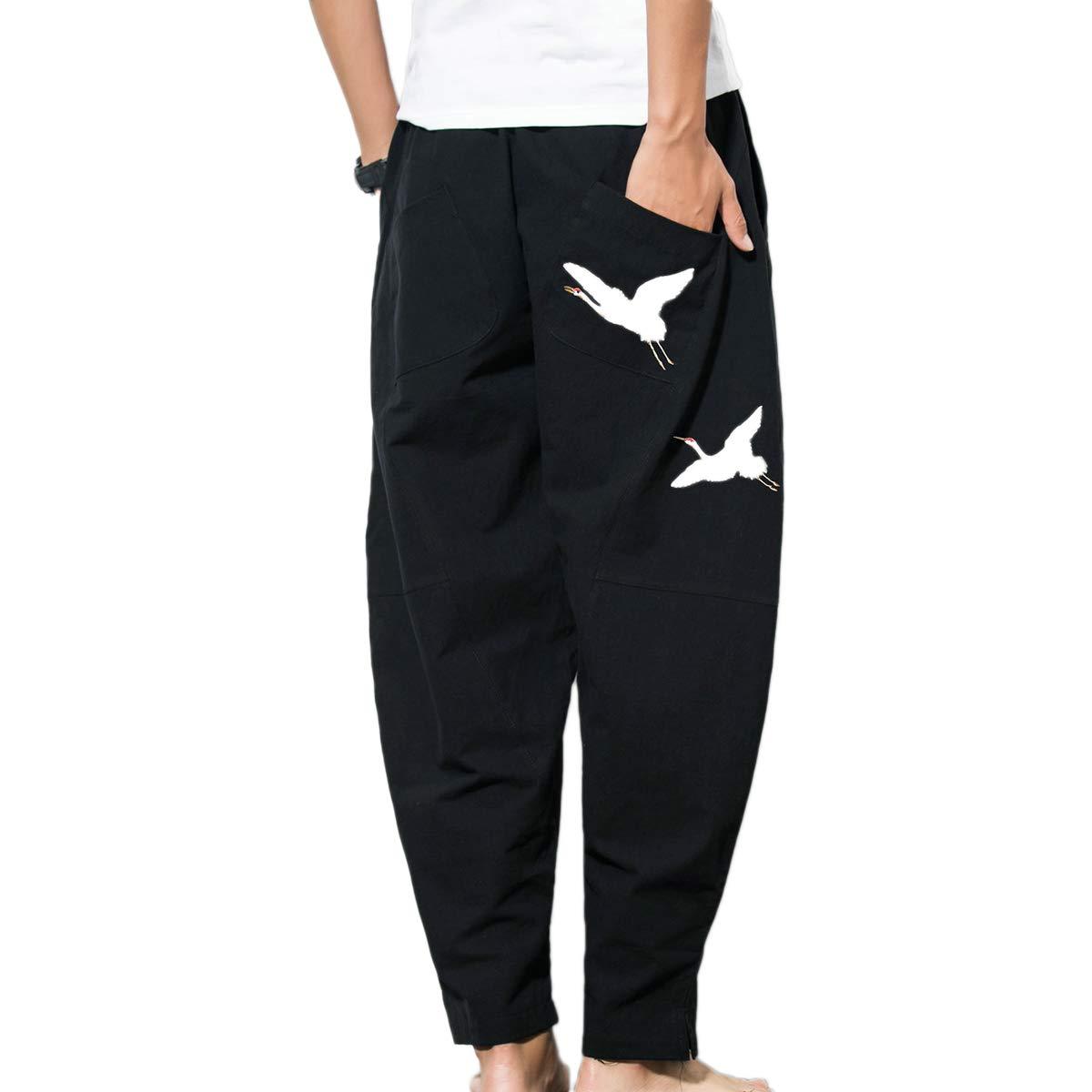 HORZEE Mens Baggy Harem Pants Casual Elastic Waist Cotton Blends Linen Pants