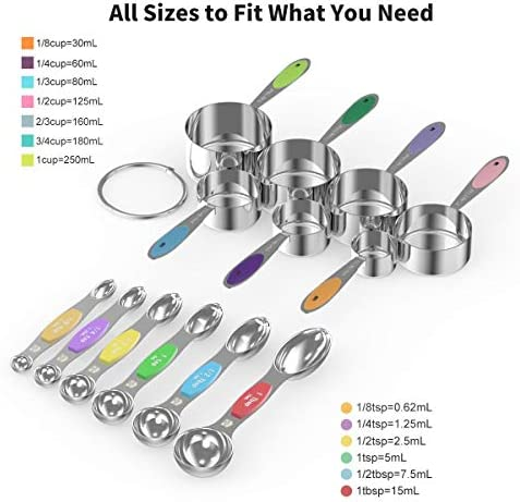 Measuring Cups Spoons Set - Wildone Stainless Steel Cups and Magnetic Measuring Spoons Set of 13, for Dry and Liquid Ingredients, including 7 Nesting Cups, 6 Spoons 2