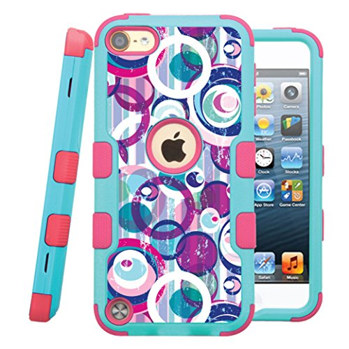 [iPod touch 5th / 6th Case, CASECREATOR[TM] For Apple iPod touch 5th / 6th generation () -- NATURAL TUFF Hybrid Rubber Hard Snap-on Case Pink Teal Blue-Color Pattern Circles] (Crystal Colors Pink Blue Ruby)