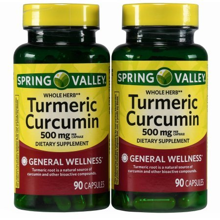 Turmeric Dietary Supplement (Spring Valley Standerdized Complex Turmeric Curcumin Dietary Supplement Capsules, 500 mg, 90 count, 2 pk)