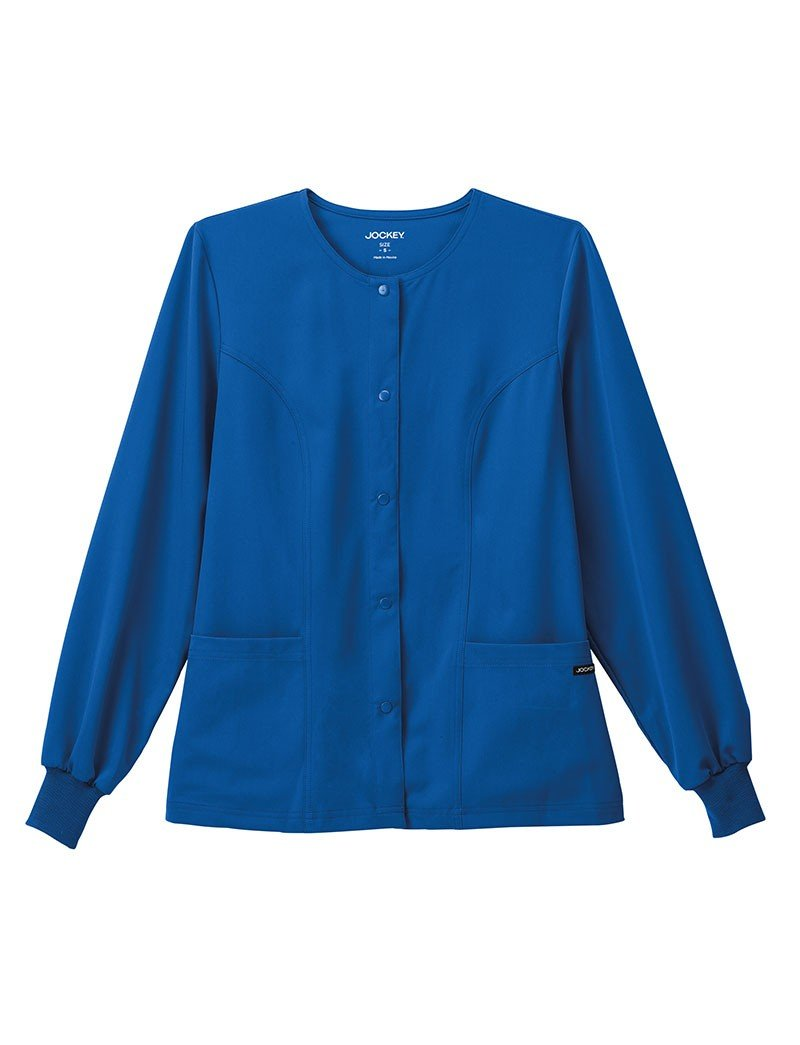 Classic Fit Collection by Jockey Women's Round Neck Solid Scrub Jacket Large Royal Blue by Jockey® Scrubs