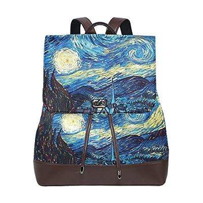 KUWT Van Gogh Starry Sky PU Leather Backpack Photo Custom Shoulder Bag  School College Book Bag bad7fb3eac279