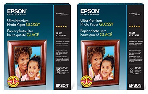 2 X Epson Ultra Premium Photo Paper Glossy S042175 (2 Pack, 100 Sheets, 8.5x11 inches)